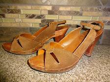 "Vintage Kinney Shoes Womens Sz 6 Brazil Brown Leather Shoes Wood 3.25"" Heels"