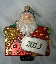 """Old World Christmas Glistening """"2013 Special Delivery"""" Santa Ornament-GLASS OWC"""