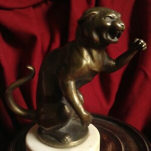 Antique Panther Puma Tiger Predator Attack Bronze Jungel Animal Sculpture Figure