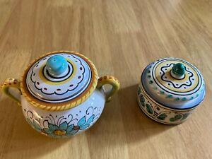 2 BEAUTIFUL HAND CRAFTED ARABESCO DERUTA  POTS WITH LIDS