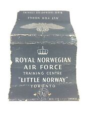 """Vintage """"Royal Norwegian Air Force"""" Matchbook Cover Toronto Canada"""