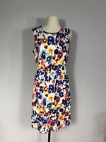 Lands' End Multicolor Floral Print Sleeveless Fit and Flare Dress Women's 12