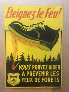Vtg 1937 Tin Metal SIGN New Brunswick Forest Service STAMP OUT FIRE Litho French