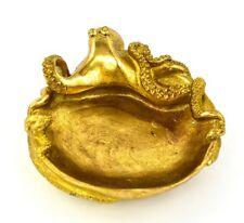 """Octopus Kraken Trinket Jewelry Plate Gold Resin 6.5"""" L"""