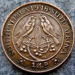 SOUTH AFRICA GEORGE VI 1948 1/4 PENNY, CAPE SPARROWS ON ACACIA BRANCH