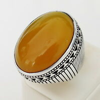 Handmade Big Face Natural Yellow Agate Stone 925 Sterling Silver Men's Ring J1
