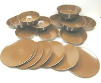 VTG Genuine Melamine Dark Brown MCM (5) Large Bowls (7) Plates (7) Small Bowls