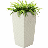 BCP Self-Watering Wicker Planter w/ Caster Wheels, Water Level Indicator