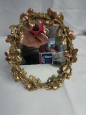 "Vintage FILIGREE AMERICAN Doll Sized Table Top Vanity MIRROR / Frame 5"" x 4"""