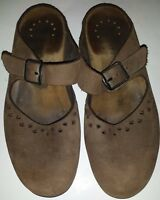 MEPHISTO Brown Suede Leather Clogs Flats Slides Mary Jane Shoes Wmen EU 36 US 5