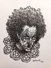 Original Art Happy Clown 3 By Pollard Pen And Ink Drawing Evil Killer