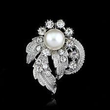 Elegant bouquet alloy crystal rhinestone Mini Pearl brooch pin Gift wedding Ad59