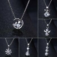 Charm 925 Silver Crystal Zircon Necklace Pendant Choker Chain Women Jewelry Gift