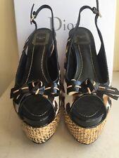 DIOR LEOPARD SANDAL13.5CM Ankle Strap Espadrille Wedge Heel Sandal Shoe 37