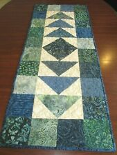 """New listing Hand Made Quilted Table Runner/ Topper /Mat ~Multi color Batiks ~ 16"""" x 39.5"""""""
