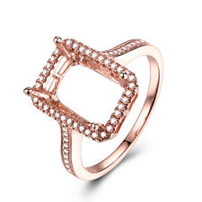 Pave 0.3CT Natural Diamond Engagement Jewelry 18K Rose Gold Emerald 10x7mm Ring