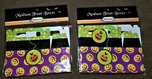 2 Packages Halloween Cute Spooky Treat Boxes and 2 Black Plastic Tableclothes