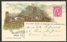 Canada covers 1908 Railway PC/Hot Springs Hotel from Montral to Caen