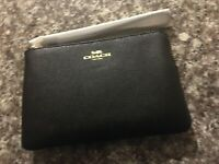 NWT Coach Black Crossgrain Leather Corner Zip Wristlet Retail $78