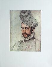Portrait de CHARLES IX à vingt-deux ans François CLOUET Dessin Rehaussé Imprimé