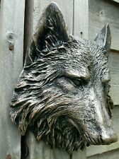 Timber Wolf Wall Plaque Hanging Figurine Home or garden waterproof in copper