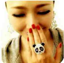 Super Adorable Cute Panda White Gold Plated Ring Size #6