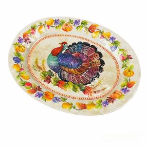 Rachel Ashwell Thanksgiving Turkey Pumpkins Oval Melamine Serving Tray Platter
