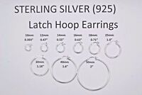 Sterling Silver .925 Latch (French Lock) Earrings 2 mm wide x 10mm to 50mm Diam.