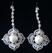 EARRING using Swarovski Crystal Dangle Drop Wedding Bridal Rhodium Silver Pearl