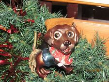 Glass Christmas ornament, cowboy dog.