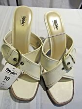 MOSSIMO WOMENS BONE BUCKLE WEDGE  LEATHER SANDALS, SIZE 10, NWT