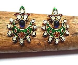 Vintage Polki Diamond Handmade Green Red  Enamel Women Jewelry Studs Earrings