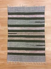 Green Striped Multi Colour Handwoven Dhurrie100%Cotton RUG 60x90cm 2'x3' 50%OFF