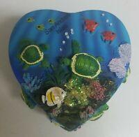 Vintage San Andres Isla Hand Painted Ocean Nautical Jewelry Trinket Box