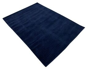 Gabbeh Blau Teppich Handgewebt 100% Wolle Lori Buff Debbich 135x185 cm E2
