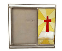 """Stained Glass Picture Frame Religious Cross Burnes of Boston Photo Size 4"""" x 6"""""""