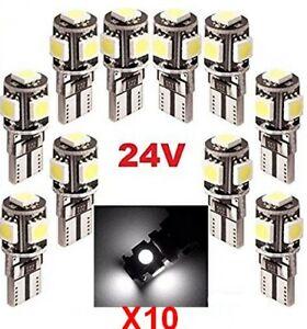 Ampoules T10 LED 24V Canbus 5 SMD W5W Blanc 6000K Pour Camion 4x4 Bateau 10pcs