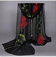 Hot New Women's Long Rose Flower Print Chiffon Scarf Soft Wrap Lady Shawl Silk