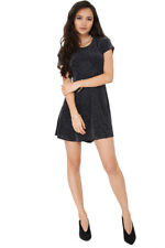 Q80 - Ladies Little Black Metallic Glitter Short Sleeve Swing Min Dress (6-12)