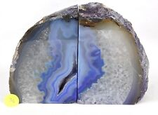 AB34) Purple Agate Quartz Crystal Bookends CD DVD ends - Great Gift / Home Decor