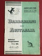 More details for barbarians v australia 31 jan 1948 rugby programme cardiff arms park 9-6