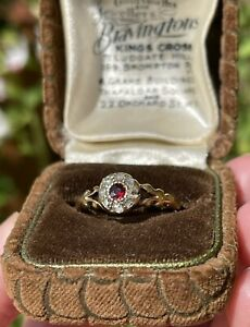 18ct Gold Victorian Or Georgian Old Cut Diamond And Garnet Cluster Ring Antique