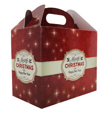 10 x MERRY CHRISTMAS RED GABLE GIFT BOXES - XMAS Gift Hamper Box Happy New Year