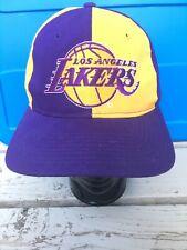 Vtg 90s LA Lakers Starter Snapback Hat cap Spellout Two Tone Rare Los Angeles