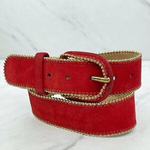 Pierre Cardin Red Vintage Beaded Nubuck Cowhide Leather Kids Youth Belt Size S
