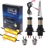 2PCs BAU15S 96-LED 3014 50W Dual-Color Switchback LED DRL Turn Signal Light Kit