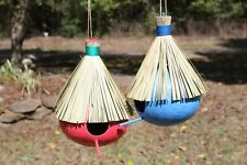 New ListingNatural Coconut Birdhouses Hand-painted Tiki Colors - 2 items