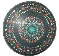 2.5' Black Round Table Top Inlay Marquetry Carnelian Green Marble Decor H942A