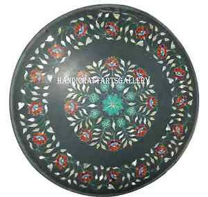 "30"" Black Marble Round Table Top Marquetry Carnelian Inlay Floral Decors H942A"
