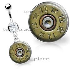 12 Gauge Spent Shell Image Glass Top Belly Ring Navel Piercings CZ Gem 14ga 3/8""